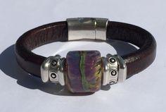 Raku Lampwork Regaliz Leather Bracelet by TBeadsGlass on Etsy