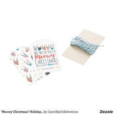 'Meowy Christmas' Holiday Cats In Antlers Personal Gift Tags @zazzle