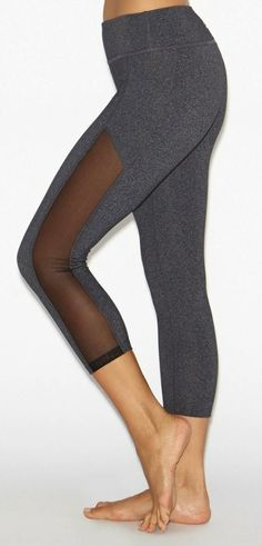 Crystal Mesh Paneled Leggings by BEYOND YOGA  #activewear #leggings #yogapants #yoga #fitness #sheer #cutouts #style