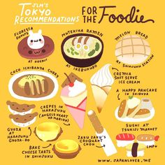 Japan Lover Me - Japanese Stuff - for the FOODIE ❤️ These are just some of the food you can try if you're in Tokyo, as recommended by the community. ❤️☺️ Artwork by ✨ Go To Japan, Visit Japan, Japan Trip, Japan Japan, Tokyo Trip, Geisha Japan, Japan Post, Japan Travel Guide, Tokyo Travel
