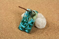 Shattuckite Rectangle Earring Pair  Bright Blue Green by ABOSBeads
