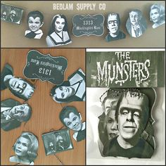 I love the Munsters, and i took that love to the next level. Here is handmade, hand-cut garland from the original series. These images are cut from very thick double-sealed card-stock, and were printed on professional photo grade velvety matte stock paper with ultra-fade resistant and smear resistant acid-free ink, guaranteed to last 200+ years when properly cared for. Garland twine is about 5 feet in length, and heads are each about 5. If youd like your twine a bit longer, just message me…