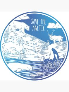 """""""Save the Arctic!"""" Sticker by Chikagi Save Planet Earth, Save Our Earth, Love The Earth, Save The Planet, Tienda Natural, Protest Posters, Protest Art, Save The Arctic, Save The Sea Turtles"""
