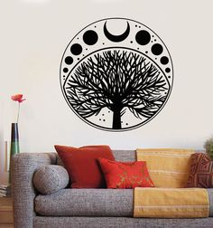 Vinyl Wall Decal Moon Phases Cycle Tree Of Life Symbol Stickers Unique Gift Tree Of Life Symbol, Tree Of Life Art, Yin Yang Art, Wall Drawing, Moon Phases, Vinyl Wall Stickers, Custom Wall, Decoration, Wire Earrings