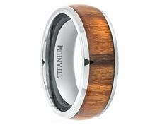 Domed High Polished Titanium Ring High With Real Santos Rosewood Inlay 8mm - Select Wedding Rings