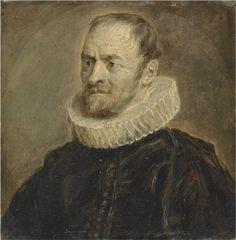 Follower of Anthony van Dyck. Portrait of Nicholas Rockox, half length, in black coat and a white ruff (15,9 x 15,9 cm)