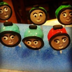 Thomas the Engine Theme cake pops by Sweet Temptations www.Sweet-Temptations.co