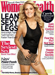 Who made Carrie Underwood's black tank top and brown print shorts that she wore on the cover of Women's Health magazine? Shirt – 7 for Mankind Shorts – Foreign Exchange Lose 5 Pounds, Losing 10 Pounds, Carrie Underwood, Adele Weight, Celebrity Bodies, Celebrity Style, Womens Health Magazine, Thing 1, Living At Home