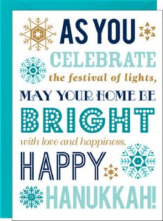 Hanukkah Typography Holiday Photo Card
