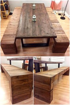 Another fantastic and creative idea is being presented here for your ease. This new styled wood pallet dining table can be crafted easily by your own. It has benches which can also be used to place at your garden. This project offers half dozen people to have diner in rustic environment.