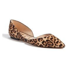 Women's Sam Edelman Rodney Pointy Toe Genuine Calf Hair Flat ($120) ❤ liked on Polyvore featuring shoes, flats, sand leopard calf hair, d'orsay flats, sam edelman shoes, pointed toe d orsay flats, leopard flats and leopard print flat shoes