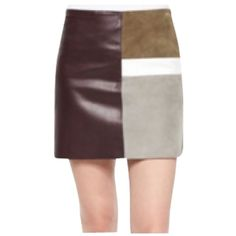 Pre-owned Theory Combo Mini Skirt (2,030 CNY) ❤ liked on Polyvore featuring skirts, mini skirts, brown, brown leather skirt, leather skirt, theory skirts, short mini skirts and short leather skirt