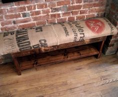 Reclaimed wood and recycled coffee sack bench and Coat Rack HOLD FOR CAROLYN. $350.00, via Etsy.