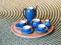 Miniatur Geschirr Kaffee-Service Holz + Tablett Erzgebirge Puppenstube