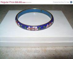 JULY 4th SALE Vintage blue cloisonne bracelet by vintagebyrudi
