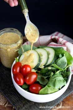 Honey Mustard Vinaigrette: Sweet, tangy, and oh so good, you will want to drink this easy 5 minute Honey Mustard Vinaigrette! Side Salad Recipes, Salad Dressing Recipes, Appetizer Recipes, Whole Food Recipes, Cooking Recipes, Healthy Recipes, Salad Dressings, Corn Recipes, Savoury Recipes