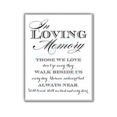 In Loving Memory Wedding Sign Memorial Table by PurplePeonyCouture, $5.00