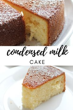 Nothing beats a dessert made using sweetened condensed milk. There is something about the sweet, sticky ingredient that makes everything taste better. This condensed milk cake is no exception. It's sweet, dense and makes the perfect afternoon tea treat. Easy Cake Recipes, Easy Desserts, Sweet Recipes, Cookie Recipes, Baking Recipes, Recipes With Cake Flour, Amazing Dessert Recipes, Food Cakes, Cupcake Cakes