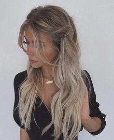 Pinterest Hair, Pretty Hairstyles, Hair Inspiration, Hair Inspo, Curled Hair With Braid, Hair Heaven, Good Hair Day, Long Prom Hair, Wedding Hair