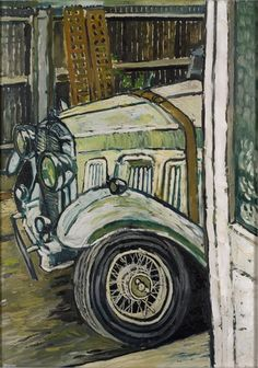 John Bratby (1928 - 1992). Super Six with Bonnet Belt, Dec 1963, Oil on Hardboard, 48 x 33 in.
