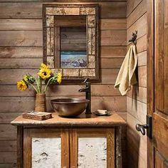 Vintage Decor Rustic Rustic cabin powder room - simple beauty for the home. Rustic Lamps, Rustic Chandelier, Rustic Decor, Rustic Backdrop, Rustic Shelves, Rustic Theme, Rustic Signs, Rustic Industrial, Rustic Style