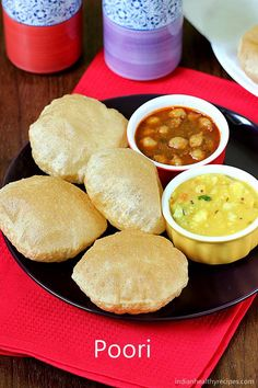 Poori recipe - Learn how to make puffed puri at home with video & step by step photos. It is served with curry, chutney, sagu or kurma. Indian Beef Recipes, Healthy Indian Recipes, Tasty Vegetarian Recipes, Puri Recipes, Veg Recipes, Cooking Recipes, Indian Dishes, Indian Breads, Bengali Food