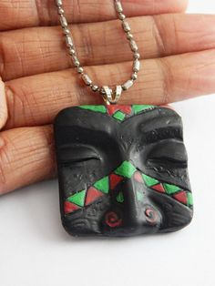African mask necklace blue black wood africa jewelry beaded tribal african mask pendant necklace unisex african face jewelry tribal handmade clay pendant unique red black green aloadofball Choice Image
