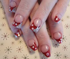 Red with glitter french nail art - 55 Hottest Red Nail Art Ideas   <3