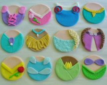 12 Edible Fondant DISNEY PRINCESS DRESSES Inspired Cupcake Toppers