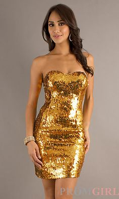 Short Gold Strapless Metallic Dress - Golden Dresses - Pinterest ...