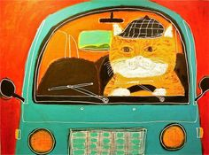 (Tiger Cat Gentleman, pepe shimada) The cat's always in the driver's seat. Chat Web, Art Fantaisiste, Cat Wine, Cat Character, Lots Of Cats, Dog Poster, Art Et Illustration, Japanese Artists, Whimsical Art
