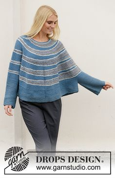 Winter Swagger / DROPS - Free knitting patterns by DROPS Design Knitted poncho sweater with round yoke in DROPS Fabel. Piece is knitted top down with short rows and stripes. Size: S - XXXL Poncho Pullover, Poncho Sweater, Jumper, Knitting Patterns Free, Knit Patterns, Free Knitting, Drops Design, Poncho Mantel, Pull Poncho
