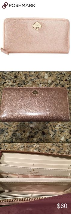 Kate Spade Lacey Glitter Bug Wallet Pre-owned, but in great condition. Pretty rose gold glitter color. kate spade Bags Wallets