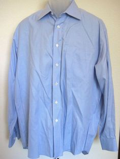 79e75737 Ike Behar Dress Shirt Size XL 16.5-35 Blue White Check Cotton Classic Fit