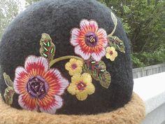 Hand Knit Felted Wool Hat,, black w brown, retro flower. $44.99, via Etsy.