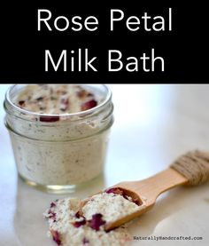 DIY Rose Petal Milk Bath made with 4 all natural ingredients. Your skin will be … DIY Rose Petal Milk Bath made with 4 all natural ingredients. Your skin will be silky smooth and super soft after a good soak in this rose petal milk bath. Spiritual Bath, Spiritual Cleansing, Oatmeal Bath, Rose Milk, Rose Bath, Bath Recipes, Bath Soak, Bath Scrub, Milk Bath