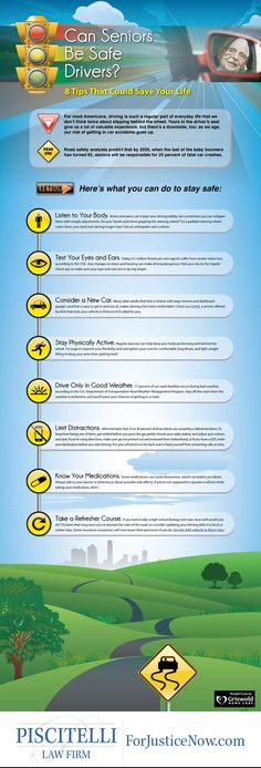 Learn how to keep seniors safe while driving with Griswold Home Care's easy to understand infographic. Safe Driving Tips, Driving Rules, Driving Safety, Driving Test, Drivers Ed, Learning To Drive, Physical Change, Driving School, Safety Tips