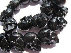 dark black jet assortment skeleton skull acrylic pendant bead 20x25mm