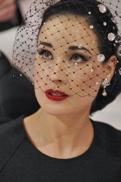Burlesque artist Dita Von Teese attending the Alexis Mabille Spring/Summer 2013 Haute-Couture show as part of Paris Fashion Week at Mairie du on January 2013 in Paris, France. Fascinator Hats, Fascinators, Headpieces, Dita Von Teese Style, Dita Von Teese Makeup, Dita Von Teese Burlesque, Dita Von Tease, Idda Van Munster, Look Retro