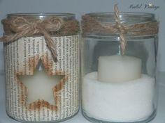 Frascos reciclados como portavelas navideños. Mandala, Candle Holders, Christmas Decorations, Candles, Glass, Crafts, Inspiration, Gardens, Christmas