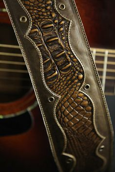 Brown Leather Guitar Strap, Custom Leather Guitar Strap with Faux Gator :Bronze Knight Guitar Strap