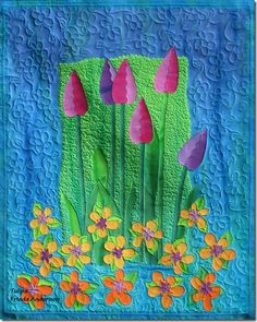 FriedaAndersonTulips/talks about quilting and fusing