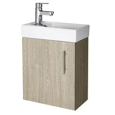 400mm Oak Minimalist Wall Hung Cloakroom Vanity Unit - Image 1