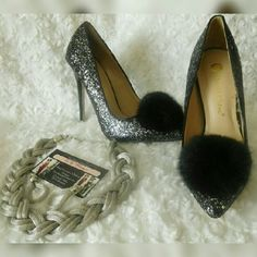 Bunny Glitter Pom Pom Pump Features a glitter covered upper with pom pom adorned pointed toe Single sole and stiletto heel? Approximate heel height 4 1/2 inches  Shop vnvyboutique.bigcartel.com Shoes Heels