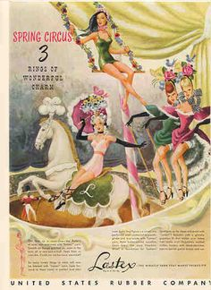 1946 Lastex elastic product shown off in lingerie uses in this colorful circus theme vintage ad