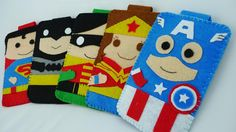 Handmade Adorable Felt Superhero Iphone Cases.  Mine would have to be a Dr Who case, though.