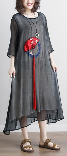 2018 long cotton dress trendy plus size Black Summer Fake Two-piece Pockets Retro Tassel Dress