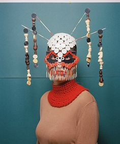 """Inspired by tribal art, Swiss photography student Marie Rime constructs colourful """"armour"""" from board games found in second-hand shops, writes Leah Harper Arte Tribal, Tribal Art, Board Game Pieces, Board Games, Masks Art, Arte Popular, Fashion Mask, Art Plastique, Mask Making"""