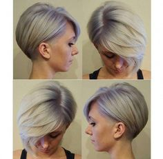 Beautiful Squares Behind The Ear: 34 Awesome Models Hair Cut Trends Beautiful - Hair Beauty Short Grey Hair, Short Hair Cuts, Short Hair Styles, Curly Bob Hairstyles, Cool Hairstyles, Ladies Hairstyles, Haircut And Color, Trending Haircuts, Pixies
