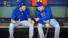 Kris Bryant and Anthony Rizzo: Photos of the Cubs' duo known as Bryzzo. Bryant Baseball, Baseball Boys, Baseball Players, Baseball Gear, Cubs Players, Cubs Team, Chicago Cubs World Series, Cubs Win, Amigurumi